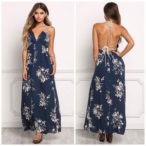 Lovestitch navy floral open back maxi dress